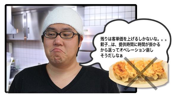 残りは客単価を上げるしかないな。。。餃子...は、提供時間に時間が掛かるから返ってオペレーション崩しそうだしなぁ?