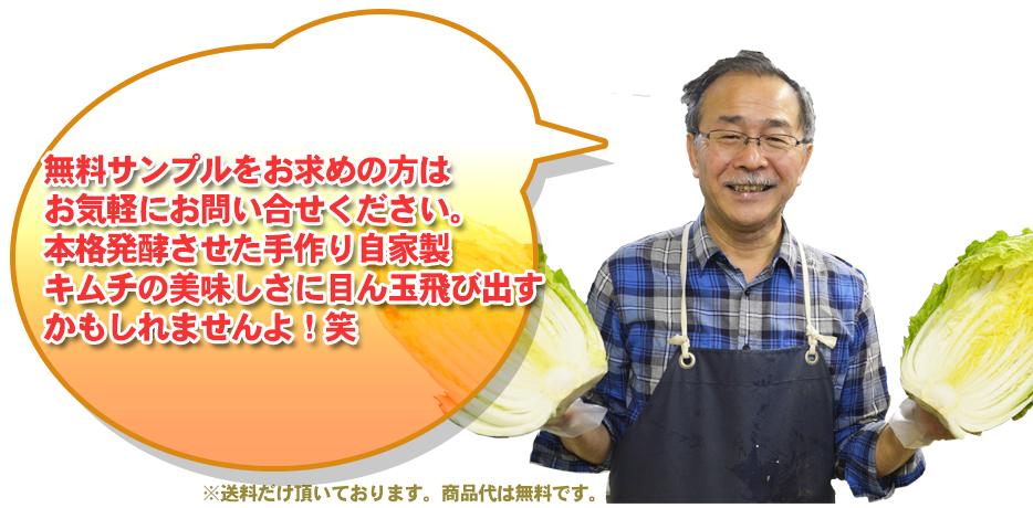 無料サンプルをお求めの方はお気軽にお問い合せください。本格発酵させた手作り自家製キムチの美味しさに目ん玉飛び出すかもしれませんよ!笑